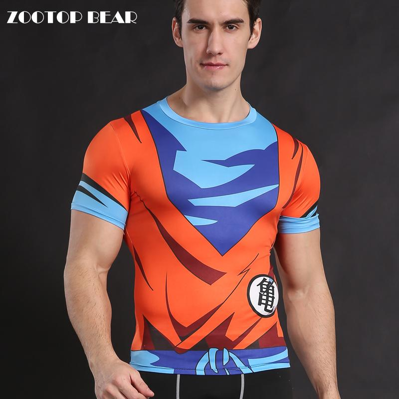 Goku t camisa dragon ball z t-shirts anime camisa cosplay topos compressão traje de fitness saiyan armadura zootop urso