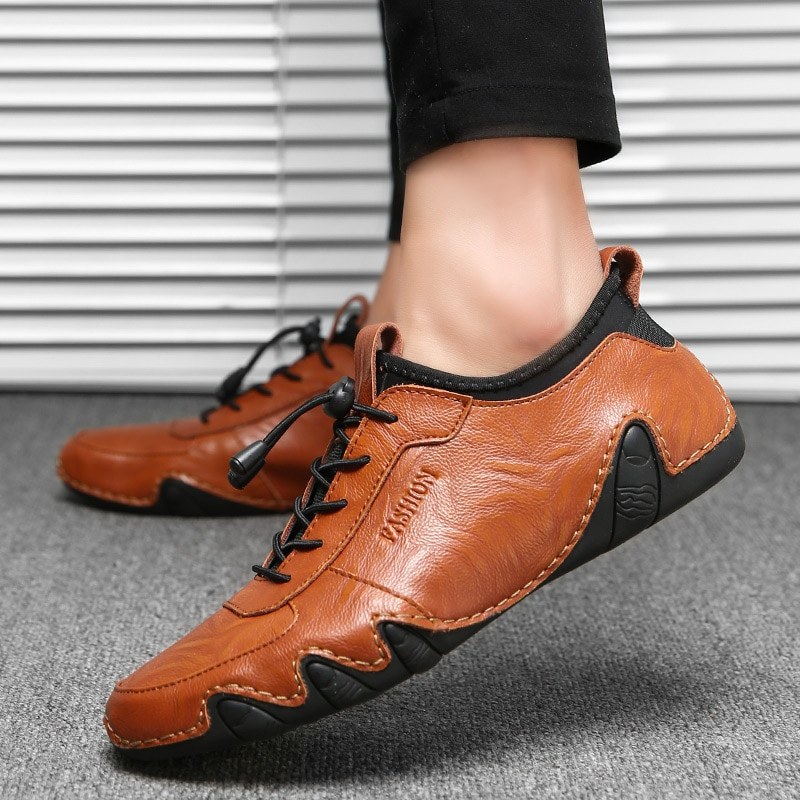 Breathable Genuine Leather Men Casual Shoes Summer Mens Loafers Slip-on Soft s Driving shoes Flats
