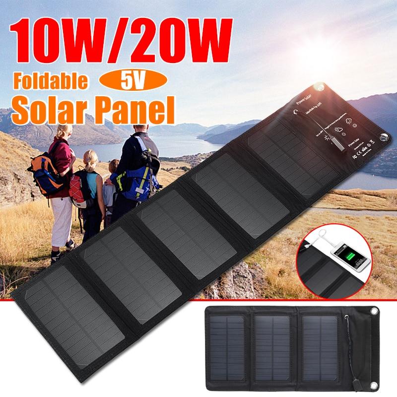 Cargador Solar plegable de 10W/20W de SunPower KINCO, dispositivos de salida USB de 5V, Panel Solar portátil para Smartphone al aire libre