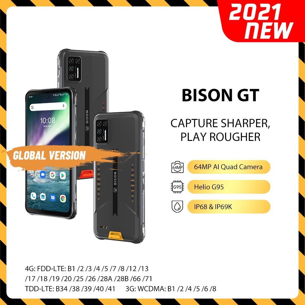 Перейти на Алиэкспресс и купить Смартфон UMIDIGI BISON GT, 8 + 128 ГБ, IP68/IP69K, упрочненный, 6,67 дюйма, FHD + 64 мп, ии матрица, четыре камеры, 33 Вт, быстрая зарядка