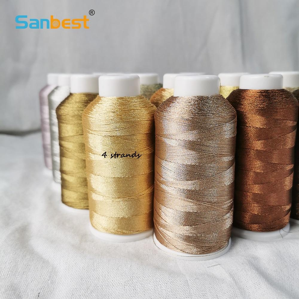 Sanbest 4 Strands Metallic Weaving Thread Handmade DIY Bracelet String Stitch Tatting Yarns High Quality Macrame Threads
