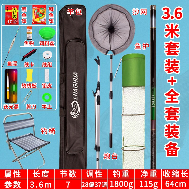 Full Set Handle Fishing Rod Feeder Carbon Guides Shore Casting Freshwater Fishing Rod Holder Telescopic Carpe Rod Combo HX50RC enlarge