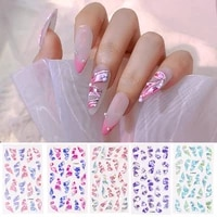 new 5d embossed nail stickers charm pearls ribbon design adhesive nail art stickers diy uv holographic manicure decorations