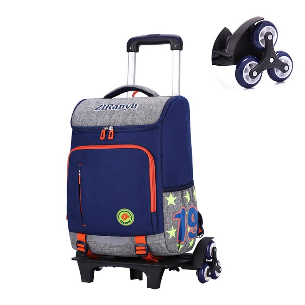 Boys Rolling Backpack Trolley School Bag Luggage Book Kids Children Mochila 2/6 Wheels Stairs bag