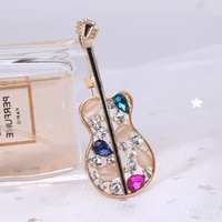 volin guitar brooches for women brown rhinestone music instruments party casual brooch pins gifts