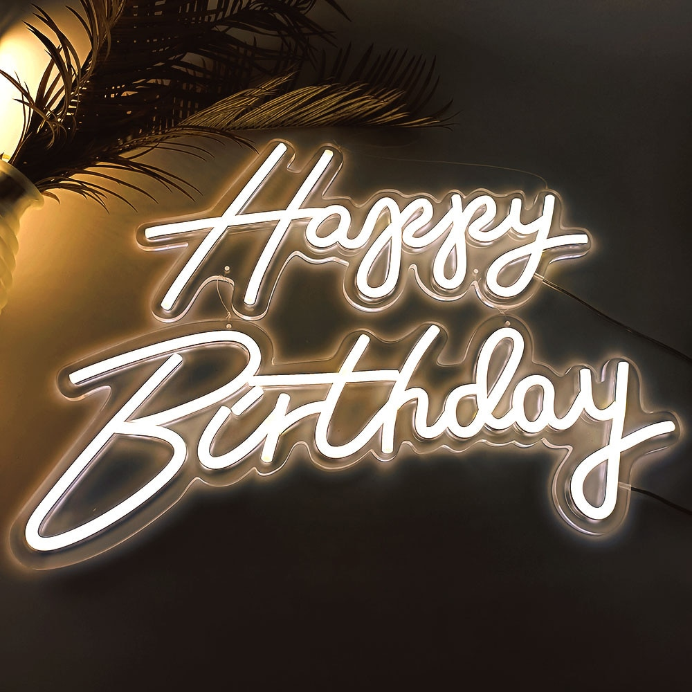 Custom Neon 22''x 16'' Happy Birthday Led Light Party Flex Transparent Acrylic Oh Baby Neon Light Sign Wedding Party Decoration enlarge