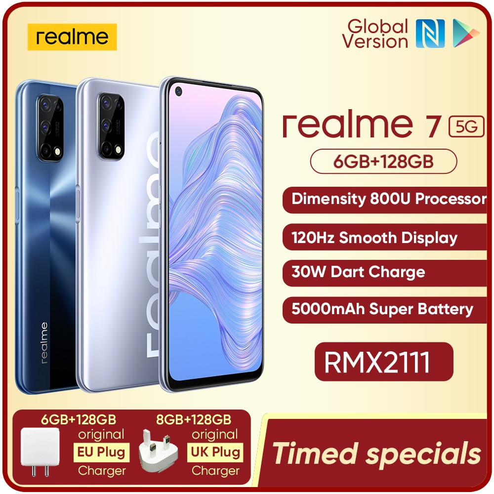 realme 7 5G Dimensity 800U 6/8GB 128GB ROM 120Hz Display 48MP Quad Camera 5000mAh Big Battery Global Version 30W Dart Charger