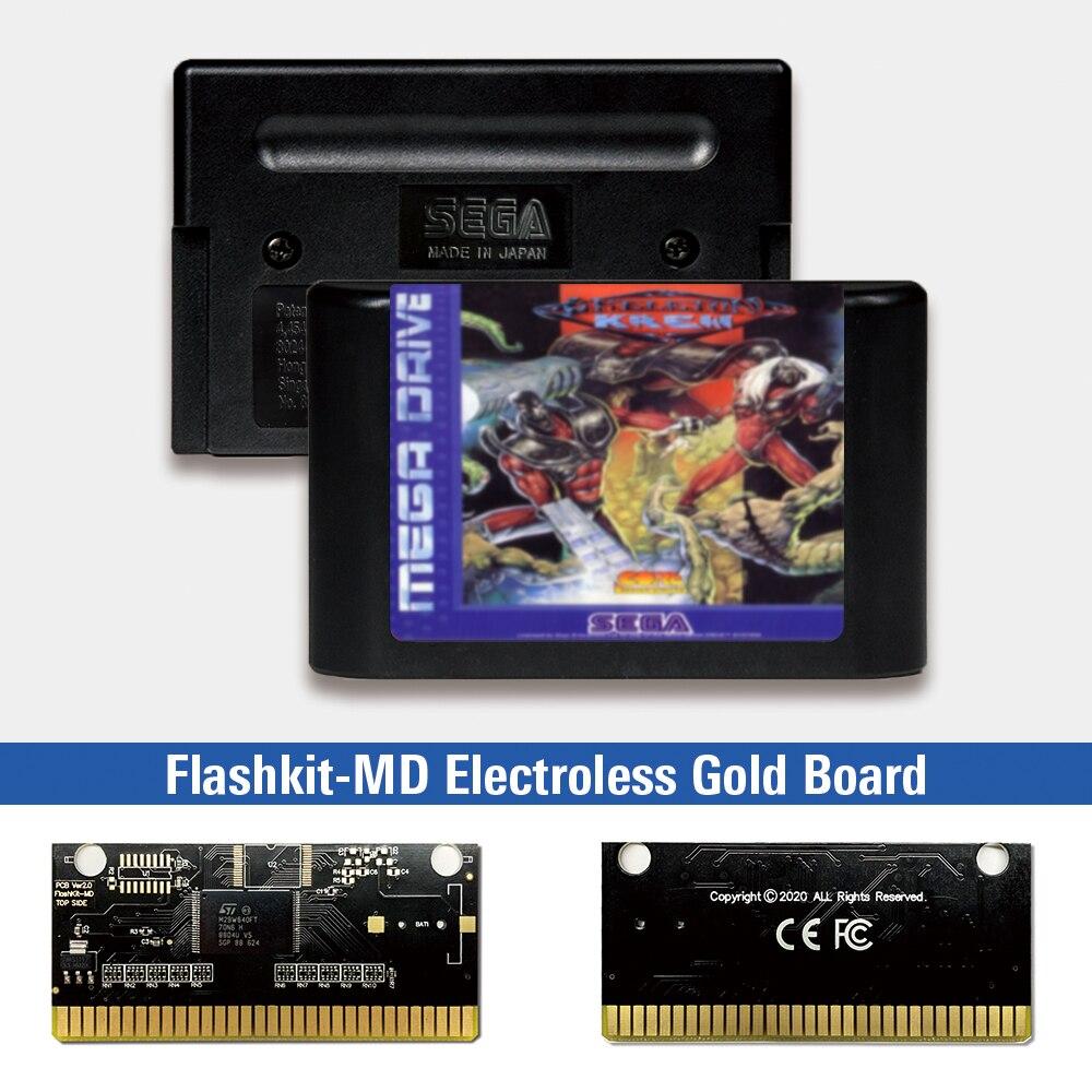 Skeleton krew-eur Label Flashkit MD, tarjeta PCB dorada sin electrodos para Sega...