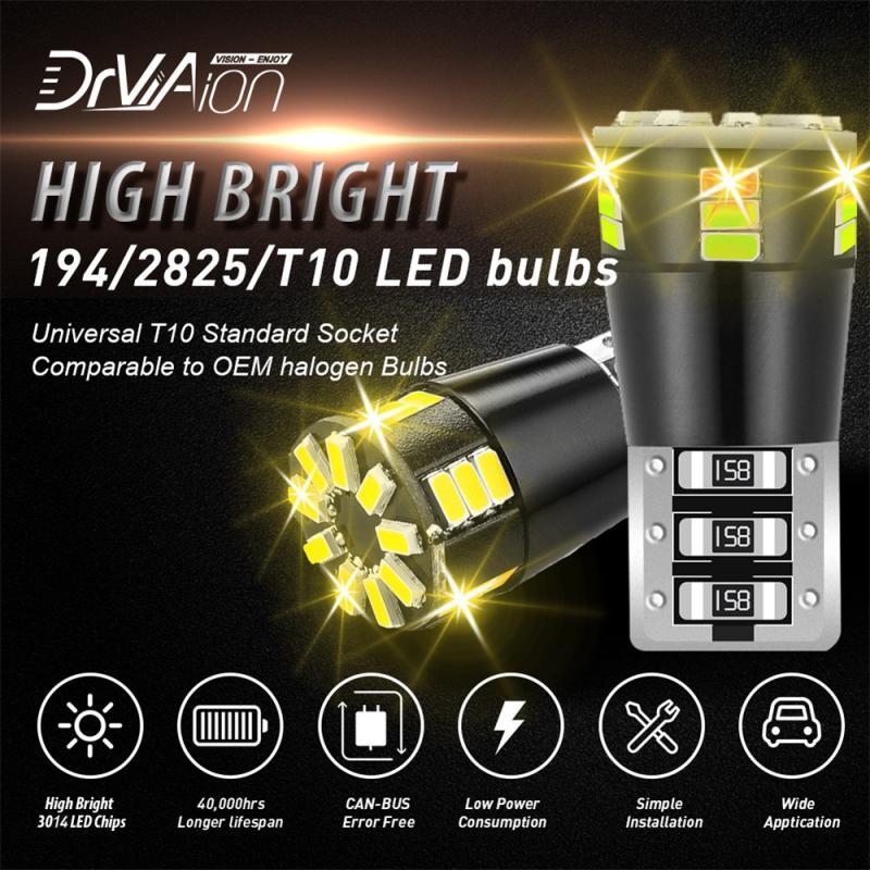 2 luces LED de Auto a prueba de agua decodificador negro brillante cinco lados Original 3014 Chipsets Led T10 Lámpara pequeña accesorios de coche TXTB1