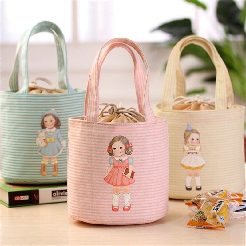 Мультяшные сумки для ланча для женщин и детей, милый кукольный Ланч-бокс, круглый кулер, сумка-тоут, водонепроницаемая, переносная, изолиров...