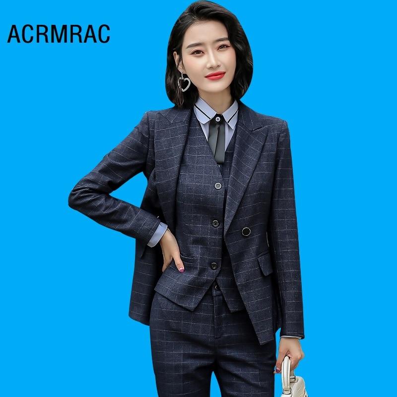 Women suits Slim autumn winter Plaid jacket Pants 2-piece set OL Formal Women pants suits Woman set suits 8258