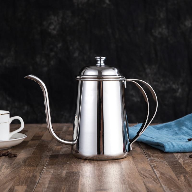 إبريق قهوة تركي عالي الجودة بغطاء من الفولاذ المقاوم للصدأ ، غلاية بعنق الإوزة ، إبريق شاي غير لامع محمول