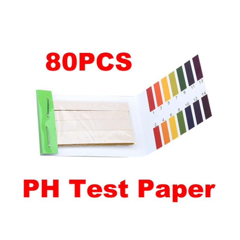 Medidor de PH de 80 tiras, indicador de PH del papel, Kit de prueba definitiva de 1-14, regulador de tiras de papel, indicador de papel de tornasol para agua solilst