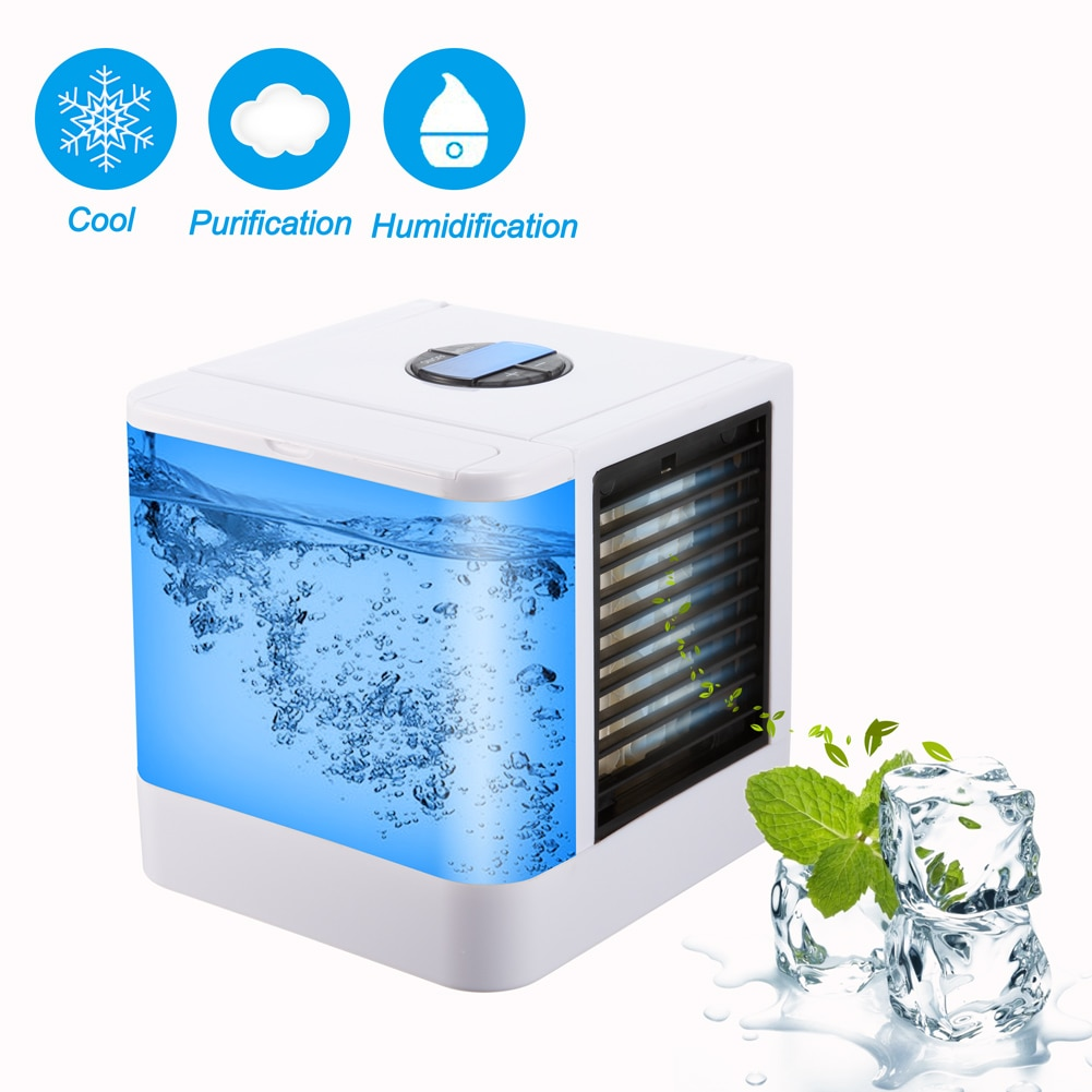 Мини кондиционер увлажнитель воздуха очиститель USB портативный охладитель воздуха 7 цветов светильник Настольный охлаждающий вентилятор в...