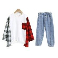 Enfants vêtements pour filles automne mode Plaid Patchwork sweat + Denim pantalon décontracté 2 pièces adolescents filles vêtements Sport costumes