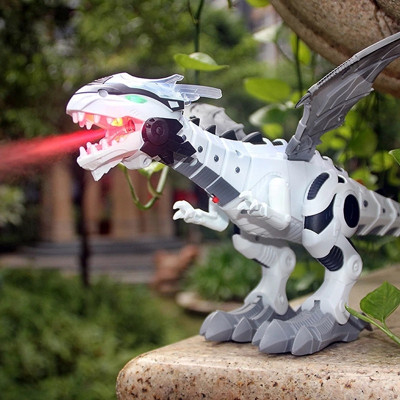Large Spray Mechanical Dinosaurs With Wing Cartoon Electronic Walking Animal Model Dinosaurio juguete Robot Pterosaurs Kids Toys