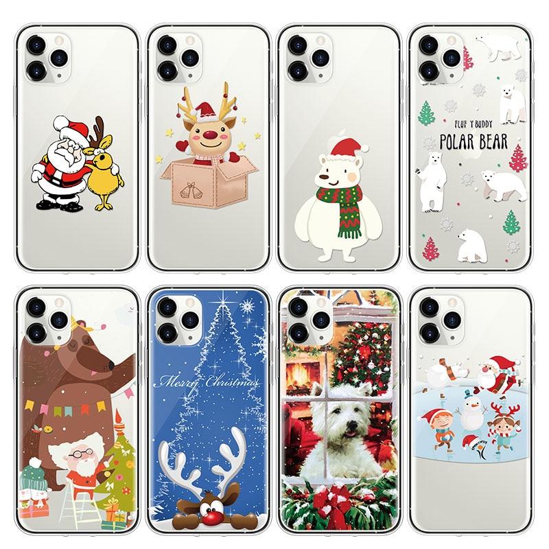 Feliz Navidad, caso para iphone XS 11 Pro Max X XR 5S 5 5C 4S 4 caso para iphone 8 7 6S 6 Plus SE Santa Claus Oso Polar TPU caso