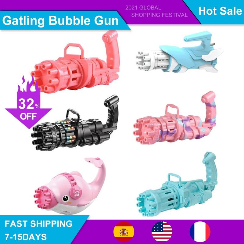 Kids Automatic Gatling Bubble Gun Toys Summer Soap Water Bubble Machine Plastic Electric Magic Bubble Machine Children Bath Toys