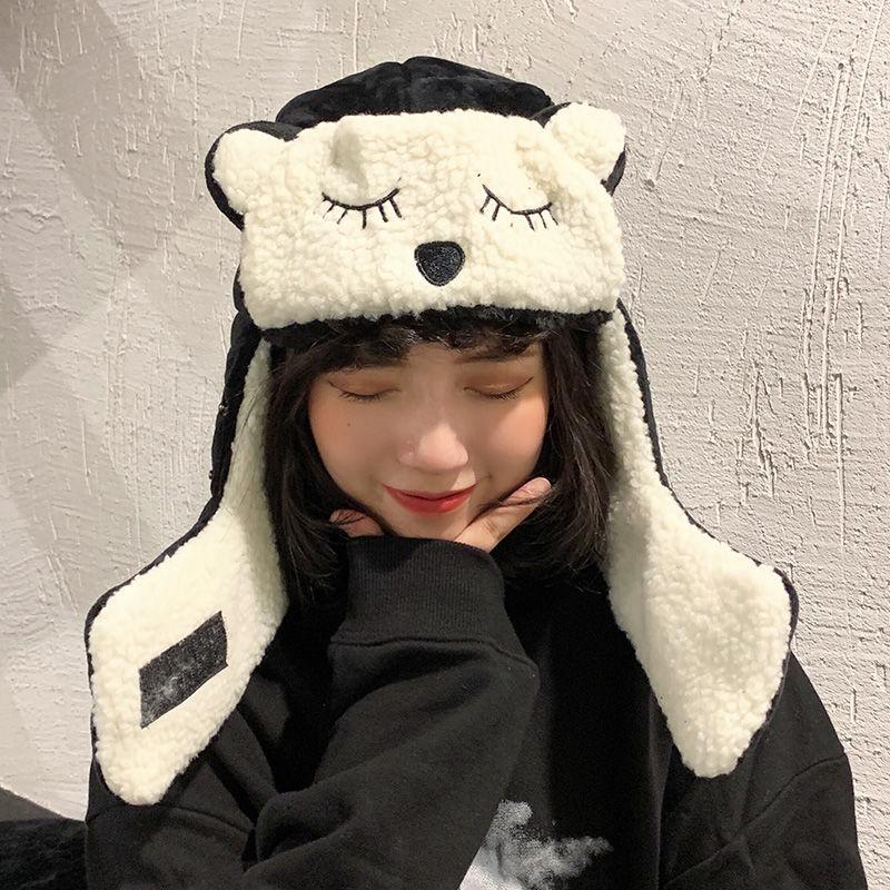 قبعة الإناث الشتاء الدراجات قبعة واقية من الرياح يندبروف لى فنغ قبعة الإناث سماعات الأذن الدافئة القطن قبعة الكورية لطيف