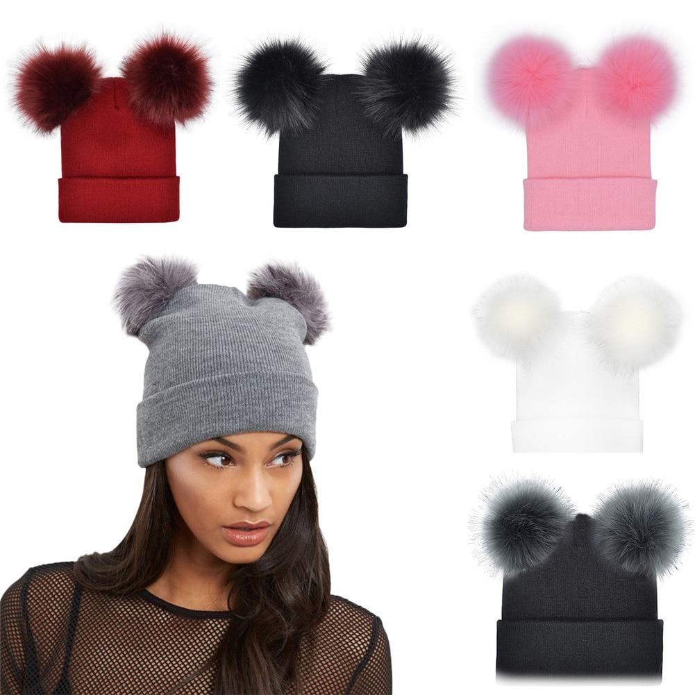 Осень 2021, новинка, Женская флисовая шапка, женская зимняя теплая шапка, вязаные флисовые шапки с двумя помпонами, Женская флисовая шапка