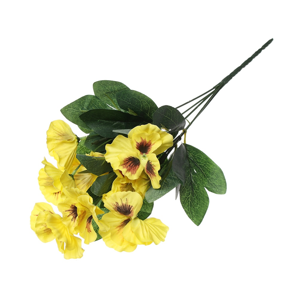 1 Pza 10 cabeza Festival hogar boda decoración simulación flor Pensamiento decoración Floral Artificial planta ramo de seda