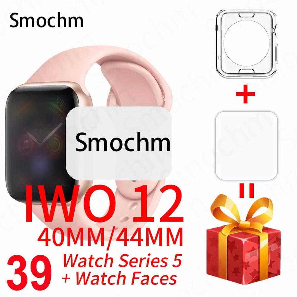 Smochm iwo 12 pro assista 5 à prova dwaterproof água relógio inteligente bluetooth 44 40mm 11 smartwatch iwo12 para apple telefone android pk iwo max 13 k8