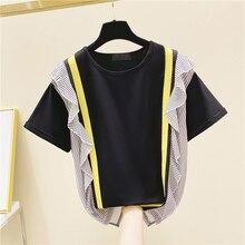 Striped Stitching T Shirts Women Wild Cotton Fashion Casual Ruffles Short-Sleeved T-shirt Female New 2020 Summer Korean-Style