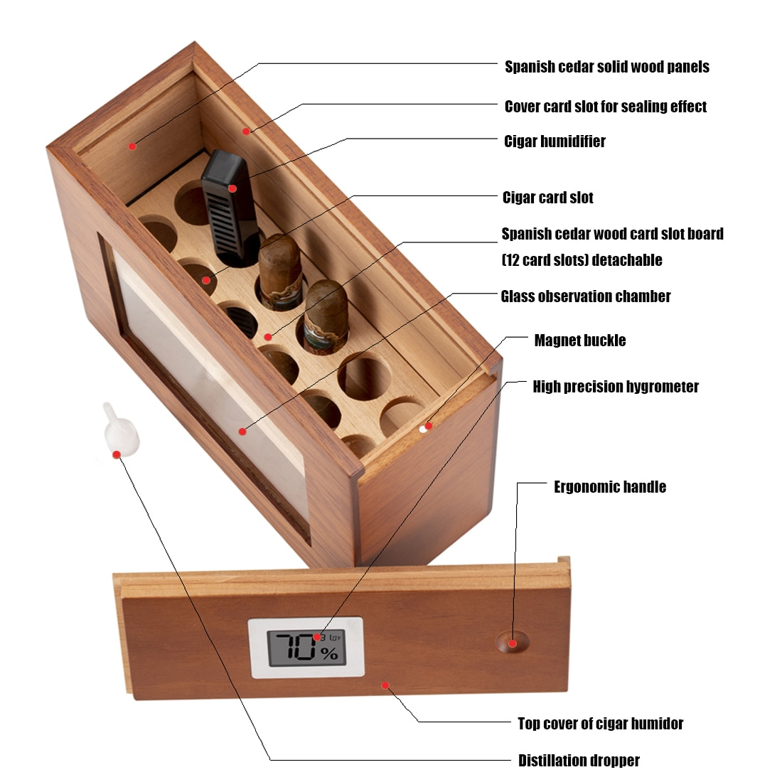 New Cigar Box Wooden W/ Hygrometer Humidifier Portable Glass Window Humidor Cedar Wood Case Fit 12-25 Cigars Storage Cabinet enlarge