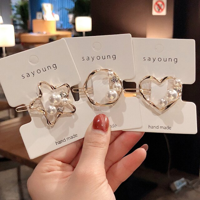 Fashion Pearls Hollow Star Love Heart Metal Hair Clips Crystal Rhinestones Star Hairpins For Women Korea Hair Accessories