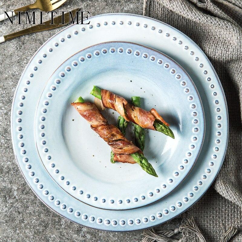 1PC Japanese Style  Ceramic Dinner Steak Plate Nordic Simple Dinner Dessert Plate Fruit Plate Home Tableware