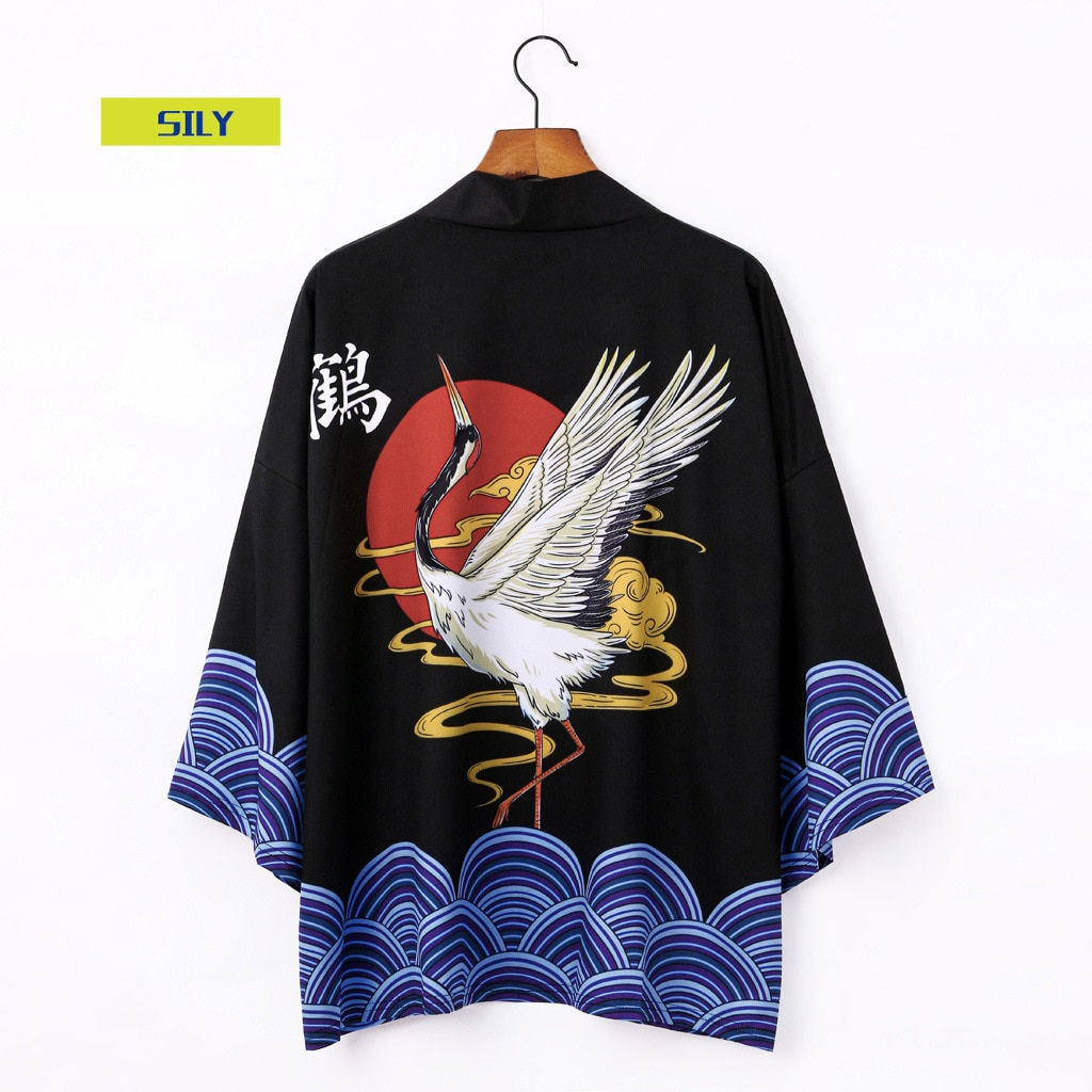 Youth Popularity Robe Men's and Women's Couple's Printed Crane 3/4 Sleeve Loose Cardigan Summer New