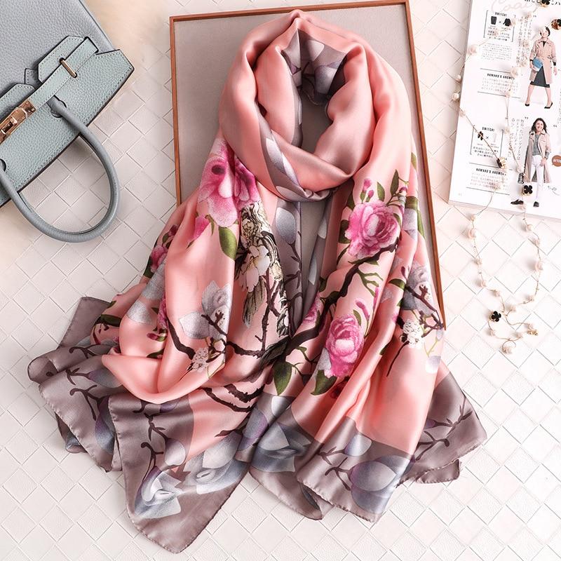 Bufanda de seda de lujo para mujer diseño Foulard femenino Hijab bufandas verano señora chal playa cubrir-ups bufandas Wraps 2020 nuevo