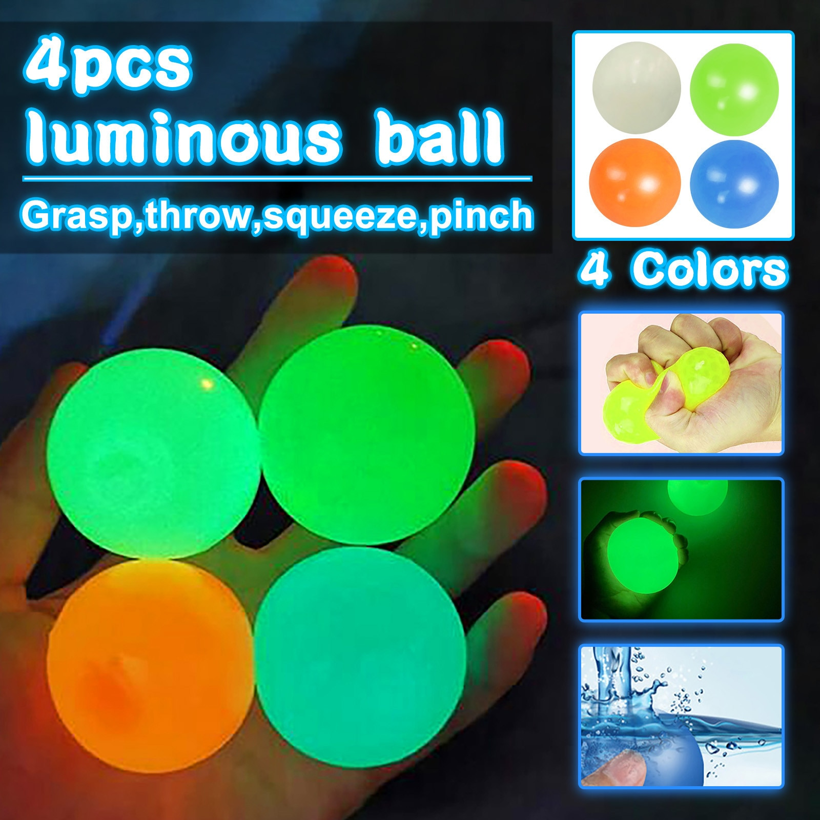 45CM Stick Wall Ball Stress Relief Ceiling Balls Squash Ball Globbles Decompression Toy Sticky Target Ballceiling Light Ball