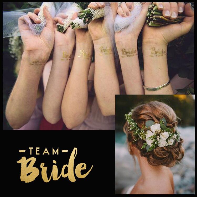 Bachelorette Party team Bride Bridesmaid tribe squad temporary tattoo Hen Night Golden Sticker bride to be wedding supplies