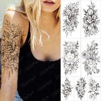 waterproof temporary sleeve tatooo stickers simplicity line rose jasmine lily transferable tattoos body art fake tatoo women