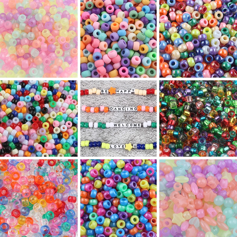 100pcs/lot 6*9mm Clear Big Hole Acrylic Beads Candy Color Spacer Beads for Jewelry Making DIY Childr