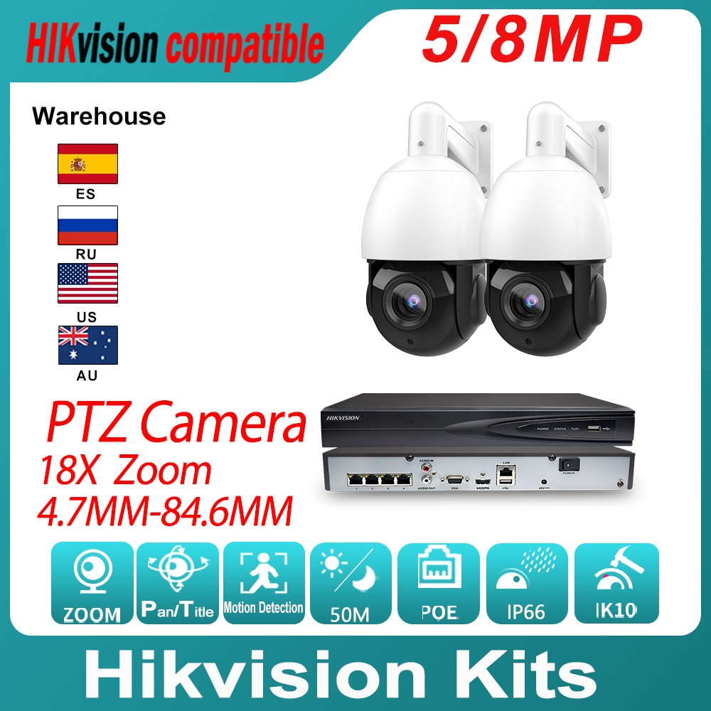 Hikvision متوافق IP كاميرا متحركة عدة 18X زووم بصري و Hikvision الأصلي NVR DS-7604NI-k1/4P مراقبة الفيديو نظام الدائرة التلفزيونية المغلقة