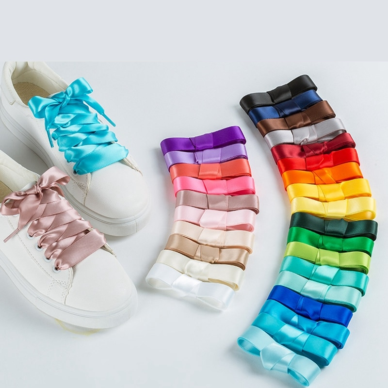 AliExpress - 1 Pair 22 Colors Silk Satin Shoelaces 2 CM Width Flat Ribbon Shoe laces Boots Women Sneakers Shoelace Length 80CM 100CM 120CM S1