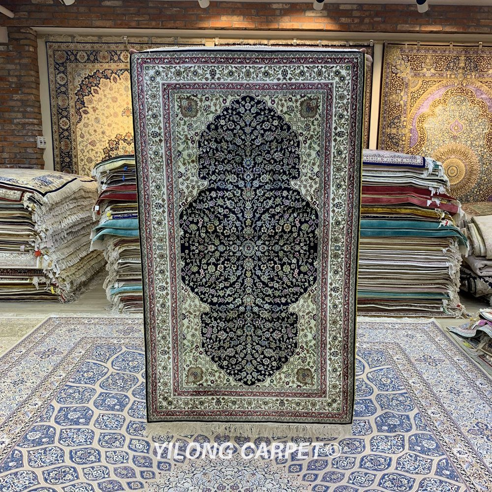 Yilong-سجاد شرقي عتيق ، 3.1 × 5.2 بوصة ، تبريز ، أزرق داكن ، حرير فارسي رائع (YXR350B)