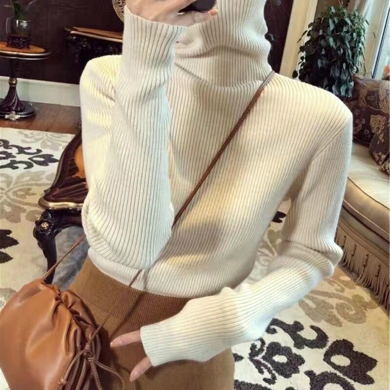Новинка, Модный женский свитер с высоким воротником, облегающий простой женский базовый вязаный свитер, Однотонный женский свитер на весну ...
