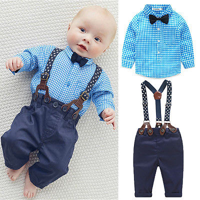 AA Outfits  Baby Boy Autumn Plaid Shirt Suspender Pants Formal Wedding Outfits