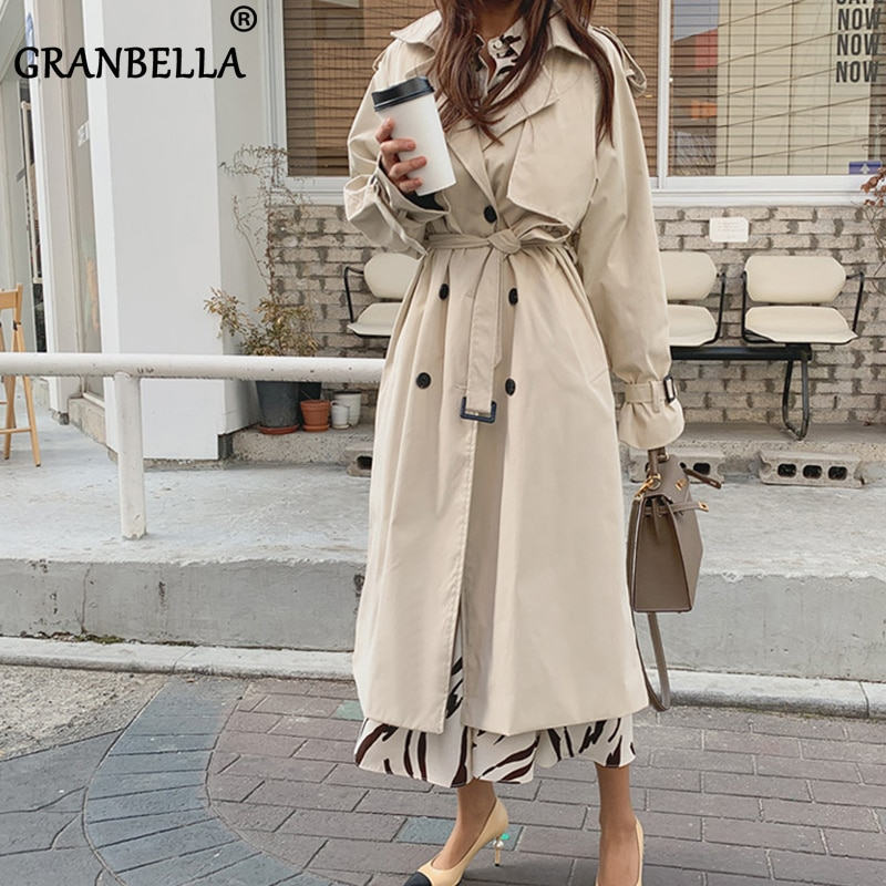 Russian Style Women's Long Trench Coats Top quality oversized cotton overcoats Abrigos Mujer