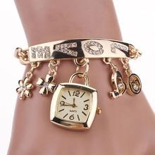 Relogio Feminino 시계 패션 여성 사랑 라인 석 체인 팔찌 손목 시계 광장 시계 드롭 배송 새로운