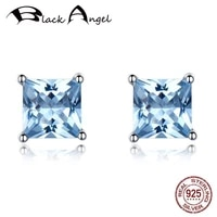 100 925 sterling silver blue topaz women earrings for bride fashion fine jewelry square cz zircon wedding stud earrings