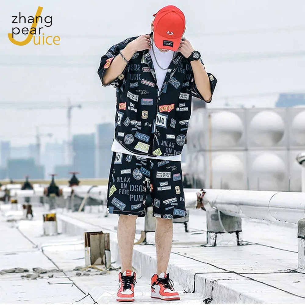 Модный комплект рубашки с принтом и коротким рукавом, мужские шорты, мужской повседневный пляжный комплект рубашки, комплект из двух предме...