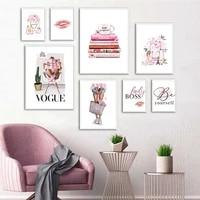 Toile dart mural de mode  Paris  affiche de fille  sac de parfum  levres  image decorative moderne pour la maison