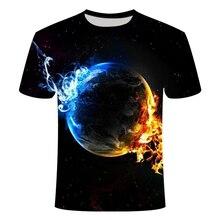 Camiseta de bola 3D de verano para hombre, Camiseta con estampado de bola de fuego, camiseta informal de manga corta con cuello redondo, talla asiática S-6XL