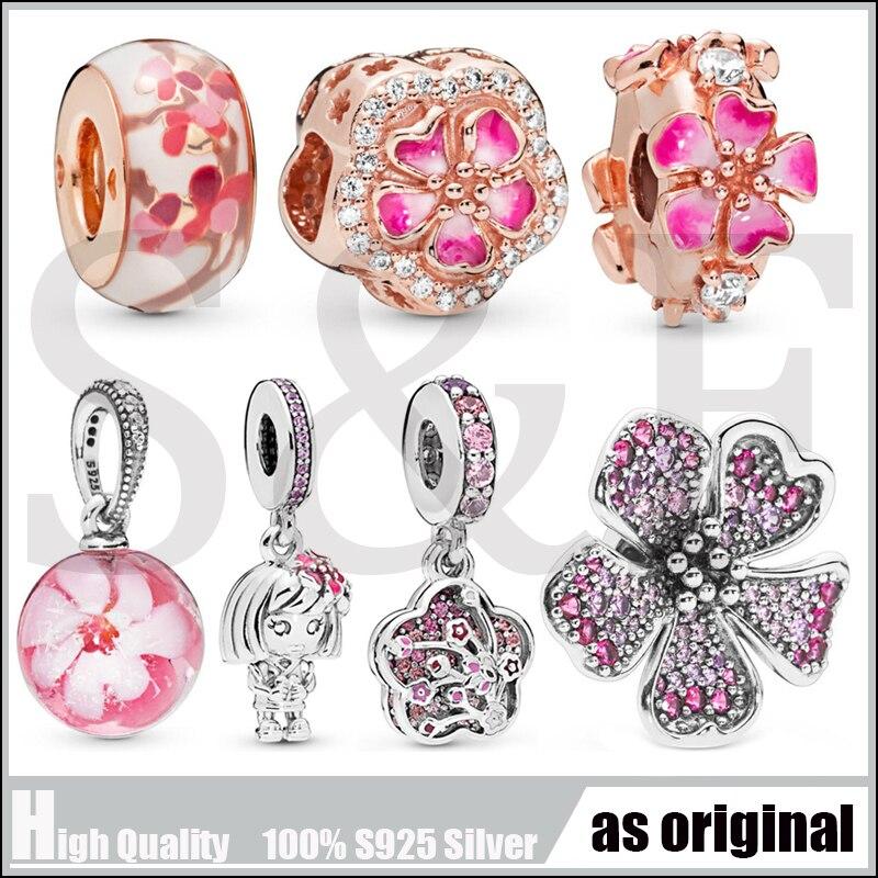 100% echt 925 Sterling Silber Big Peach Blossom Blume Charme Perlen Für Pandora Armbänder DIY Feine Charme Silber 925 Schmuck