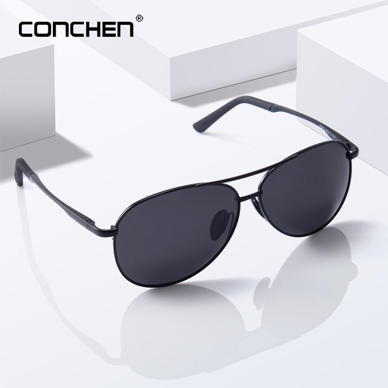 CONCHEN 2019 Pilot Polarized Sunglasses Men Women Metal Frame Spring Hinge Driving Sun Glasses Male Retro Sunglasses