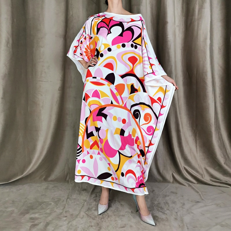 Женское длинное платье-макси с рукавом летучая мышь, свободное Повседневное платье с принтом в богемном стиле для вечевечерние на осень
